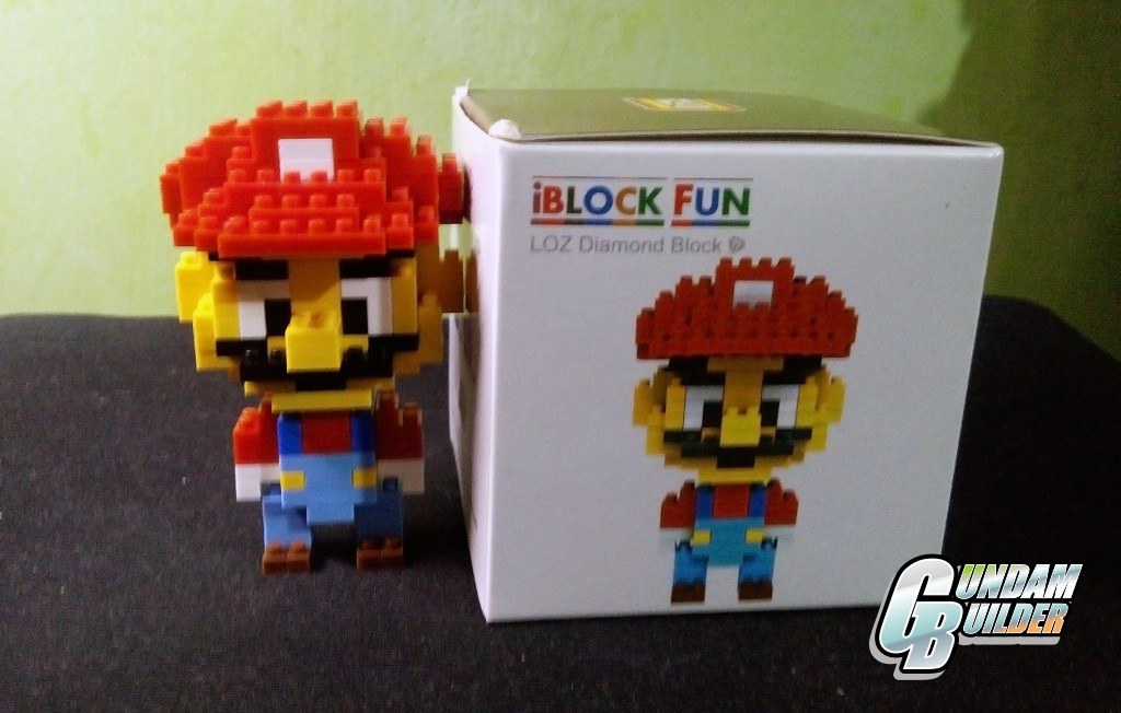 Frontal view of both the built mario blocks, and the box.