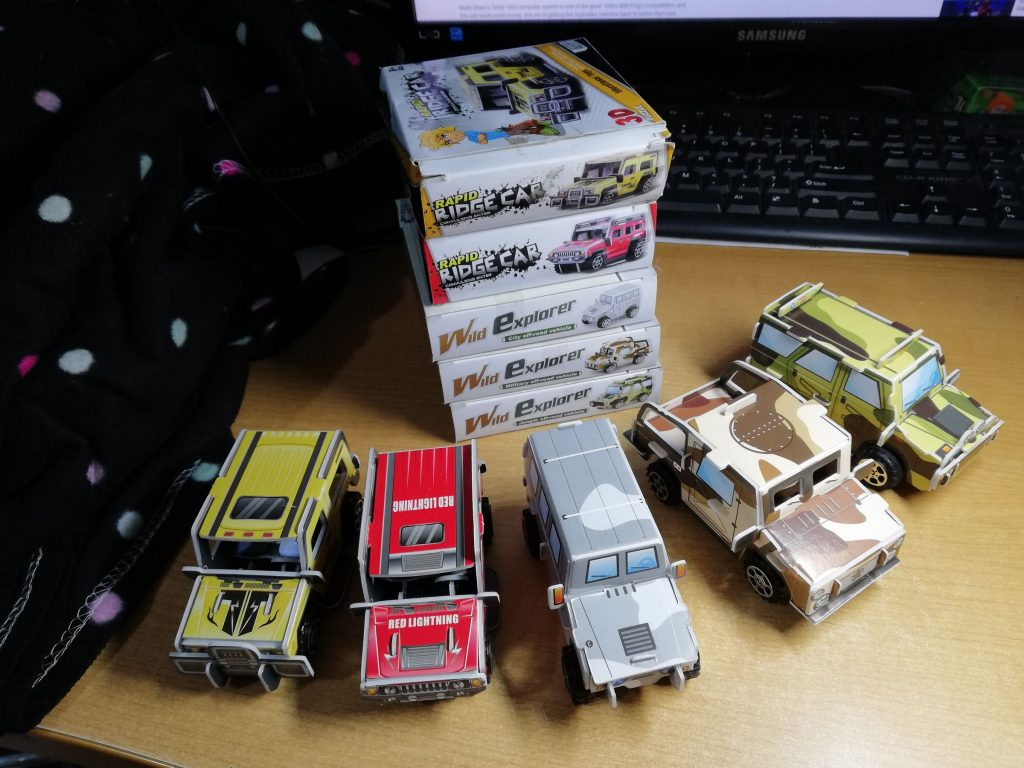 Top view of the cars with the boxes on the back